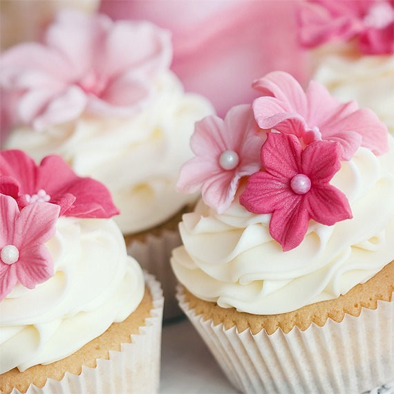flower decorated cupcake